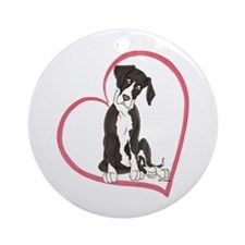 NMtl Heart Pup Ornament (Round)