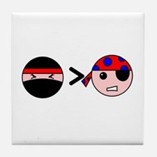 Ninjas Greater Than Pirates Tile Coaster