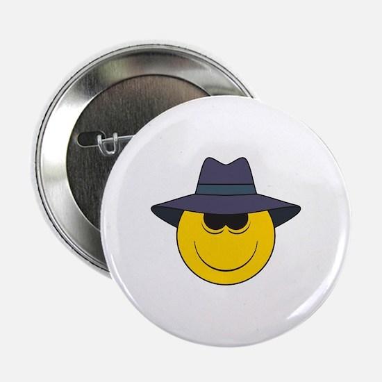 "Private Eye/Spy Smiley Face 2.25"" Button"