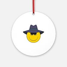 Private Eye/Spy Smiley Face Ornament (Round)