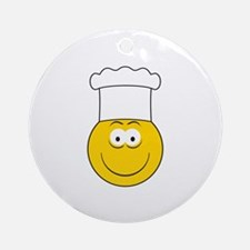 Chef/Cook Smiley Face Ornament (Round)