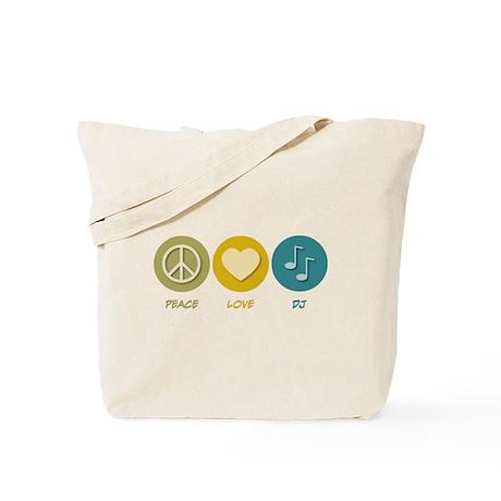 Peace Love DJ Tote Bag