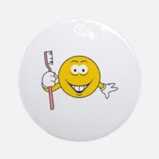 Dentist/Toothbrush Smiley Face Ornament (Round)