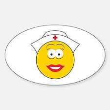 Nurse Smiley Face Oval Decal