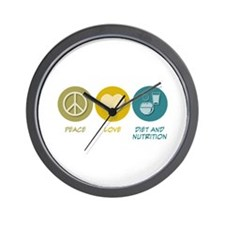 Peace Love Diet and Nutrition Wall Clock
