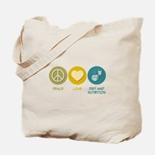 Peace Love Diet and Nutrition Tote Bag