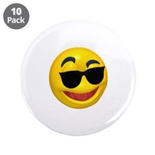 "Cool Shades Face 3.5"" Button (10 pack)"