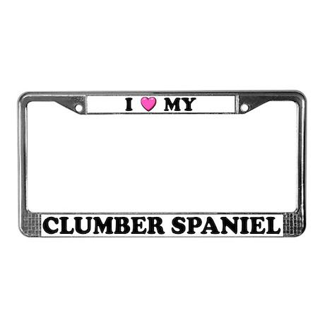 I Heart My Clumber Spaniel License Plate Frame