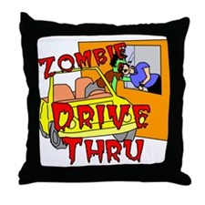 Zombie Drive Thru Throw Pillow