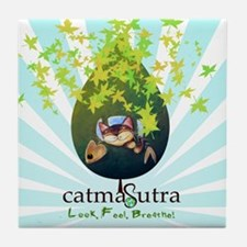 Earth Day Catmasutra Smile Ge Tile Coaster