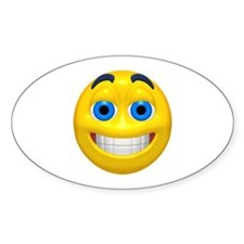 Happy Cheesy Face Oval Decal