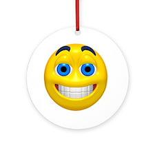 Happy Cheesy Face Ornament (Round)