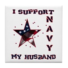 I support my Husband Tile Coaster