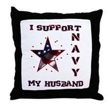 I support my Husband Throw Pillow
