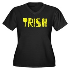 Trish Faded (Gold) Women's Plus Size V-Neck Dark T