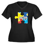 Autism Puzzle Women's Plus Size V-Neck Dark T-Shir