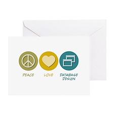 Peace Love Database Design Greeting Card