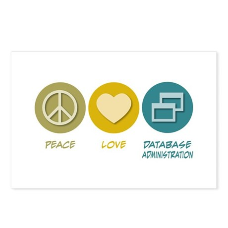 Peace Love Database Administration Postcards (Pack
