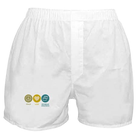 Peace Love Database Administration Boxer Shorts