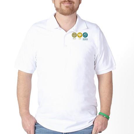 Peace Love Database Administration Golf Shirt