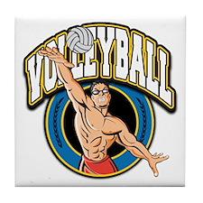 Men's Volleyball Logo Tile Coaster