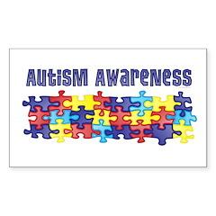 Autism Awareness Puzzle Piece Rectangle Sticker 5
