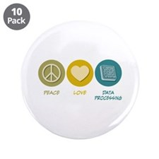 "Peace Love Data Processing 3.5"" Button (10 pa"