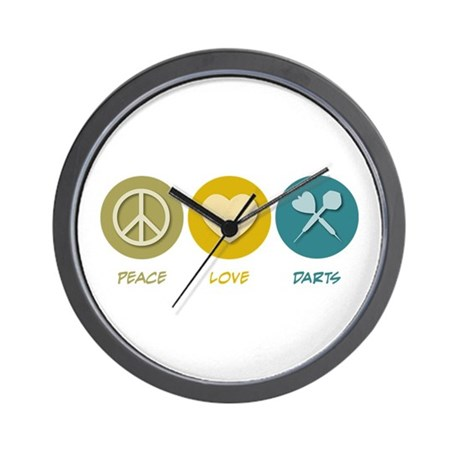 Peace Love Darts Wall Clock