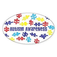 Autism Awareness Puzzle Piece Oval Sticker (50 pk)