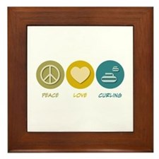 Peace Love Curling Framed Tile