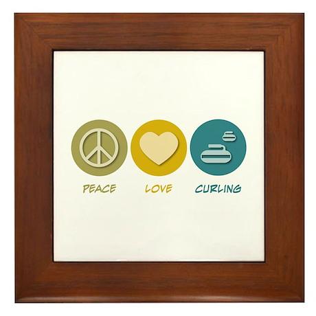 Peace Love Curling Framed Tile