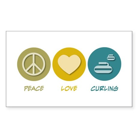 Peace Love Curling Rectangle Sticker