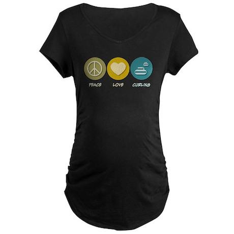 Peace Love Curling Maternity Dark T-Shirt
