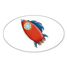Cute Rocket Picture 2 Oval Decal
