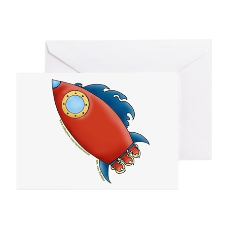 Cute Rocket Picture 2 Greeting Cards (Pk of 10)
