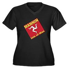Mannin Women's +Size V-Neck Black T-Shirt
