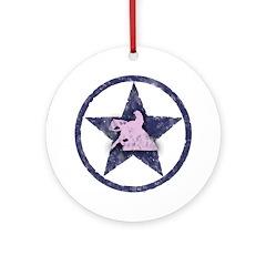 Texas Star Pink slider Ornament (Round)