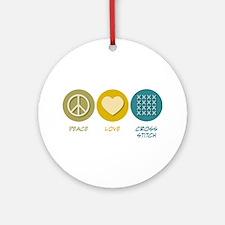 Peace Love Cross-stitch Ornament (Round)