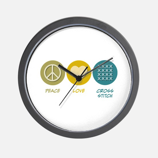 Peace Love Cross-stitch Wall Clock