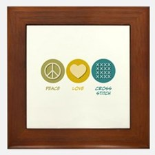 Peace Love Cross-stitch Framed Tile