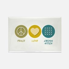 Peace Love Cross-stitch Rectangle Magnet