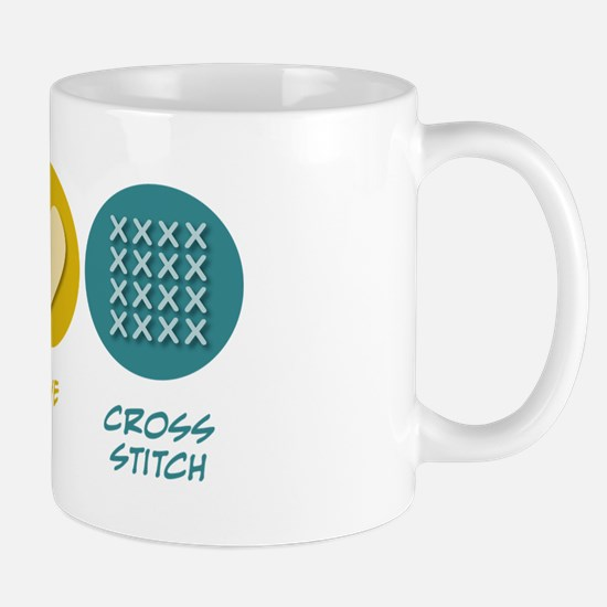 Peace Love Cross-stitch Mug