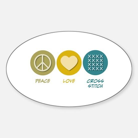 Peace Love Cross-stitch Oval Decal