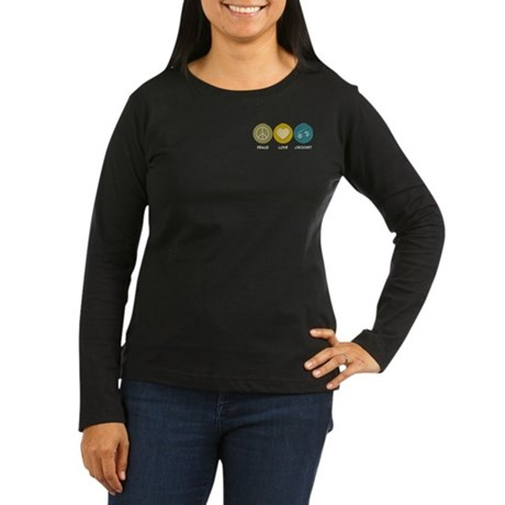 Peace Love Crochet Women's Long Sleeve Dark T-Shir