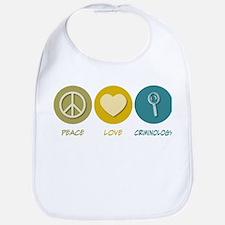 Peace Love Criminology Bib
