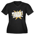 THWAK! Women's Plus Size V-Neck Dark T-Shirt