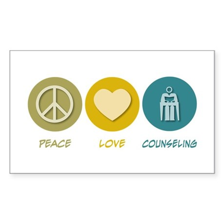 Peace Love Counseling Rectangle Sticker