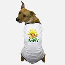 Happy Sun and Tulips Dog T-Shirt