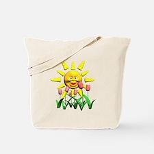 Happy Sun and Tulips Tote Bag