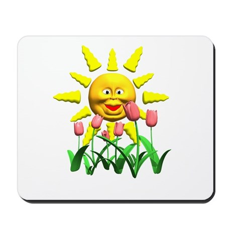 Happy Sun and Tulips Mousepad